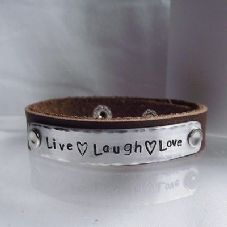 "Lovely Handmade Personalised ""Live Laugh Love"" Leather Statement Cuff Bangle"